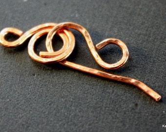 Handmade Copper Hook Clasp Hammered Swirl (One Set)