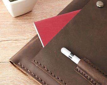 Dark Brown iPad Pro 12.9 Leather Case With Apple Pencil Holder and Back Pocket, Custom Hand Stitched Sleeve Folio, Monogrammed Mens Gifts