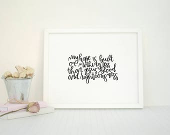 The Solid Rock | My Hope is Built on Nothing Less | Minimal Christian Art | Hymn Print | Black and White | Minimalist | Modern Calligraphy