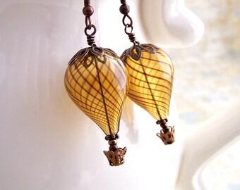 Hot Air Balloon Earrings - Steampunk balloon earrings in blown glass and copper  - Hot Air Balloon Jewelry - Steampunk Earrings
