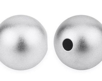 2 Pcs 8 mm Sterling Silver Round Sandblast Beads (SS0800RDTN)