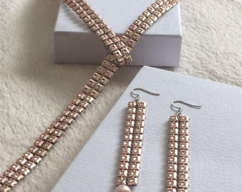 Pink Champagne Necklace and Earring Set