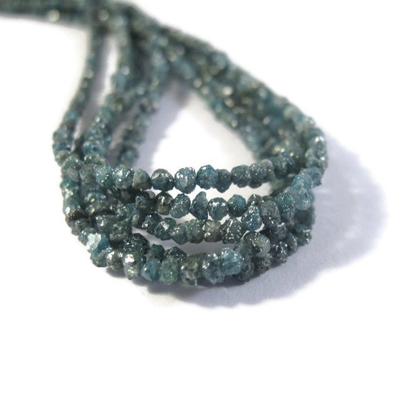 Deep Teal Blue Rough Diamond Nuggets, 8 Inches of Raw Diamond Beads 1.5mm - 2.5mm Diamond Beads, Drilled Bead, Jewelry Supplies (Luxe-Di1)