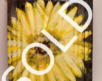SOLD--------Big, Yellow Flower, Daisy, Original Painting,  Original Art, Winjimir, Home Decor, Rustic Decor, Gift, Garden, Patio, Porch, Art