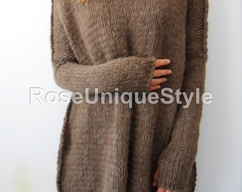 Oversized Chunky knit sweater.  Slouchy / Bulky / Loose knit sweater. Brown alpaca/wool sweater.