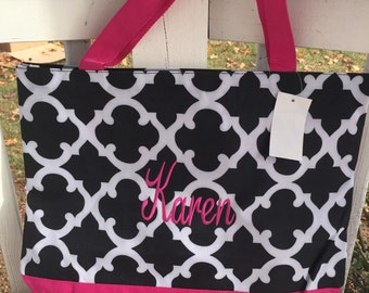 Monogrammed Tote Bag, Personalized Tote Bag, Shopping Tote, Medium Size Tote Bag, Tote Bag, Shoulder Bag, Zipper Tote Bag with Coin purse