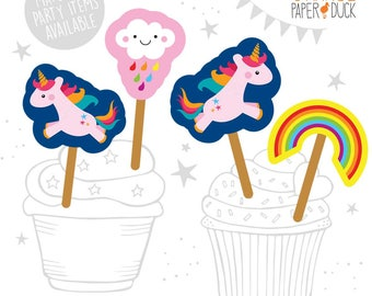 8 X UNICORN Rainbow Cloud Birthday Party Cupcake Straw Flag Toppers