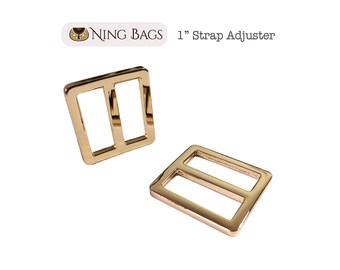 "Set of 6 // 1"" Strap Adjuster, Squared Edges Strap Slider, Rectangular Strap Ring in Beautiful Gold Finish"