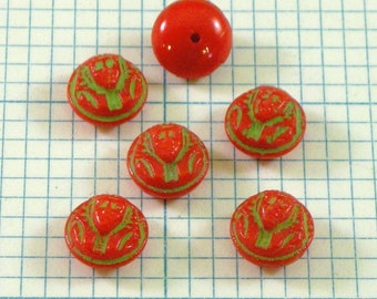 6 9mm Vintage Glass Cabochons - Red Pharaoh Face