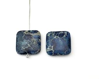 2 dark blue impression jasper stone beads  /  20 mm  #PP 304