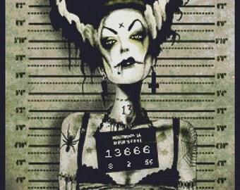Modern Cross Stitch Kit, Marcus Jones , Franky's Wife Arrested' - Mug Shot, Counted cross stitch, Horror stitch, Halloween Art