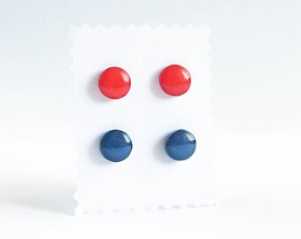 Red and blue stud earrings Set of nickel free earrings studs red stud earrings rot ohrstecker