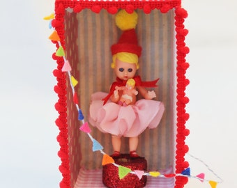 Circus Dolly Shadow Box, vintage doll  and her baby,handmade and hand painted.