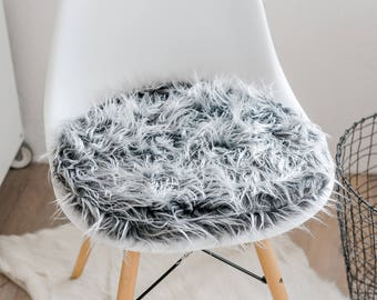 Seat cushion for Eameschair made of silver-grey faux fur, limited