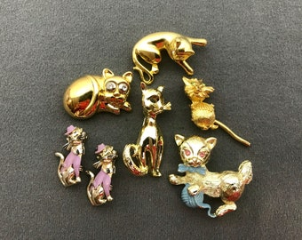 Seven Vintage Figural Cat Brooches-as is. Free shipping.