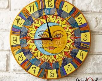 Sun and Moon Playroom, Sun, Moon, Modern wall clock with numbers, Yellow wall clock, wood clock, Yellow home decor, wedding gift, office