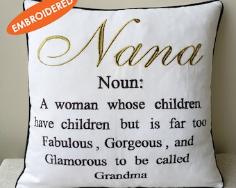 Nana Mema Glamma Grandma Pillowcase Embroidered Cushion cover,Grand Parents Pillow cover,Decorative Grandmother Gift Throw Pillow