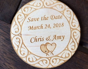 Wooden Save the Date magnet B, personalized