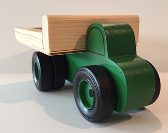 Toy Farm Work Truck Green with Dual Wheel on Rear - Handcrafted Toy Wood Green  Farm Work Truck with Dual Wheels on rear - Hauler Truck