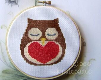 Cross Stitch  PDF Pattern Owl and Heart  Valentine