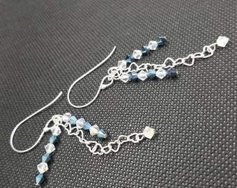 Swarovski Crystal, Blue Crystal, White Crystal, Sterling Silver, Heart Chain, Night Out, Anniversary, Birthday, Classy, Handmade Earrings