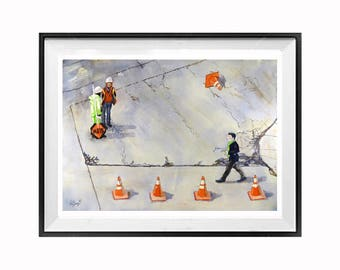Urban Landscape Construction art print construction illustration Watercolor painting Men at work art print WatercolorByMuren N
