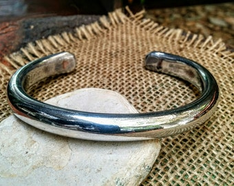 Wide Silvery Cuff Bracelet.  6.5mm x 11mm Thick and Wide. White Aluminum.