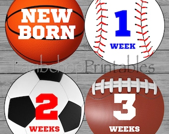 Baby Monthly Sports Stickers, Baby Stickers, Monthly Stickers, Month Stickers, First Year Sticker, First Year Stickers, Boys Sports, DIY