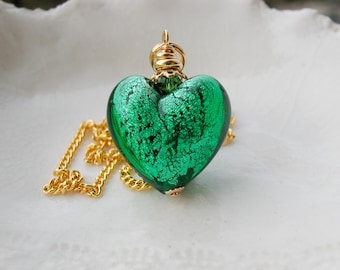 Green Murano Glass Heart Necklace