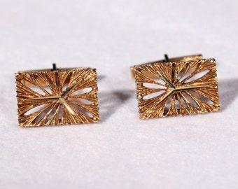 Vintage 70s Cuff Links14k Yellow Gold Cuff Links Dressy Cuff Links Geometric  Abstract Cufflinks Stamped Cuff Links European Jewelry