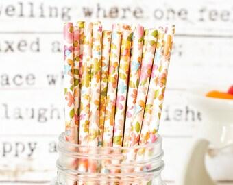 Pastel Flowers Paper Straws, Beautiful Straws for Wedding or Birthday Celebration, Heart Straws, white, Paper Straws, Wedding Straws