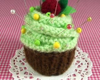 CUPCAKE KNITTING PATTERN Pincushion knit crochet Amigurumi Cupcake Ornament Toy dessert Food - Pistachio - Pdf Pattern Instant Download