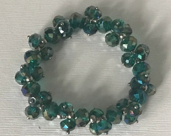 Vintage teal beaded stretch bracelet,  green beaded stretch bracelet, blue beaded stretch bracelet, expandable bracelet, teal jewelry beads
