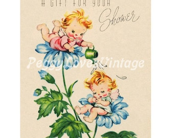 Wedding 35 Sweet Shower Pixies and Flowers a Digital Image from Vintage Greeting Cards - Instant Download