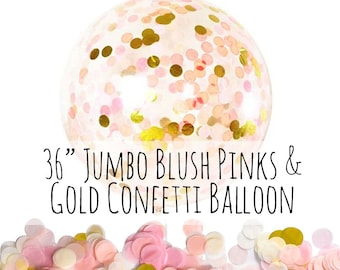 "Blush Pink and Gold Confetti Balloon, 36"" Big Clear Balloon, Tissue Paper Confetti Filled Balloon, Party Decoration, Wedding, Photo Prop"