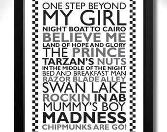 MADNESS - One Step Beyond Limited Edition Unframed A4 Art Print with Song Titles for SKA 2 Tone fans! ...and Nutty Boys!