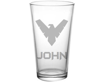 Nightwing Pint Glass - Nightwing Glass  - NIGHTWING Beer Glass, Etched Nightwing Gifts