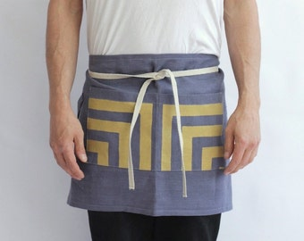 cafe apron organic European hemp with hand printed pockets