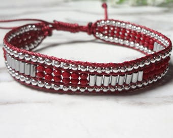 Single Wrap Bracelet Handcrafted  Red White Beads Jewelry 1094
