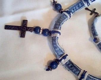Handcrafted,  One of a kind Denim Necklace And Bracelet Set