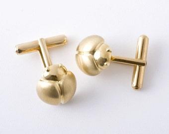 Men's Beetle Cuff Links, 18K Gold Cufflinks for Men, 18k Yellow Gold Cufflinks, Ladybird Cufflinks, Ladybug Cuff Links, Men's