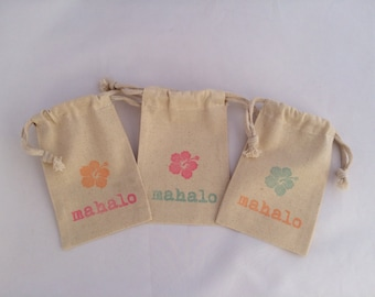 Mahalo/ Thank You Hawaiian Favor Bag, Luau Party Favor Bag - Hawaii Party Bag, Thank You Bag