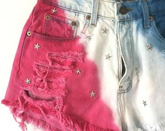 Vintage Levi's Patriotic Red White Blue Denim Cut Off Shorts High Waist Destroyed Boho Gypsy Festival Shorts Studded Embellished
