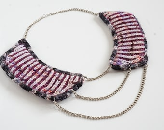 knitted necklace kit - we stick together - hand dyed yarn