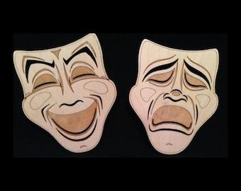 Drama Masks- (Theater Masks, Comedy Masks, Drama, Theater, Masks, Wooden Mask, Wooden Drama Mask)