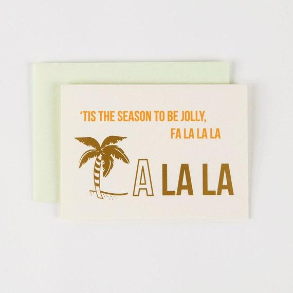 Tis the Season Gold Foil FA LA LA Los Angeles - Set of 5