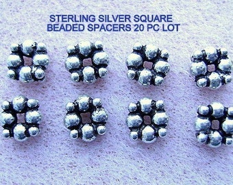 BEADS, Bali, Sterling, Silver, Square, Spacer,Ball, Flat, 10, 25, OR 70