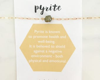 Pyrite Healing Crystal Necklace, gemstone, gold, silver, pyrite jewelry, gift, under 30, dainty, natural raw gemstone