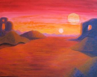 RED PLANET Original Acrylic Fantasy Landscape Painting