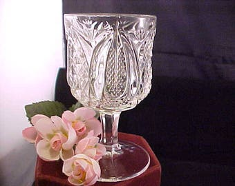 Antique Wine Glass Harvard Yard by Tarentum Glass, EAPG Early American Pressed Crystal Glassware, Collectible Glass Vintage Stemware